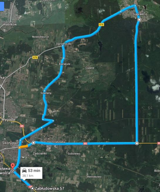 trasa supraśl białystok przez Sowlany